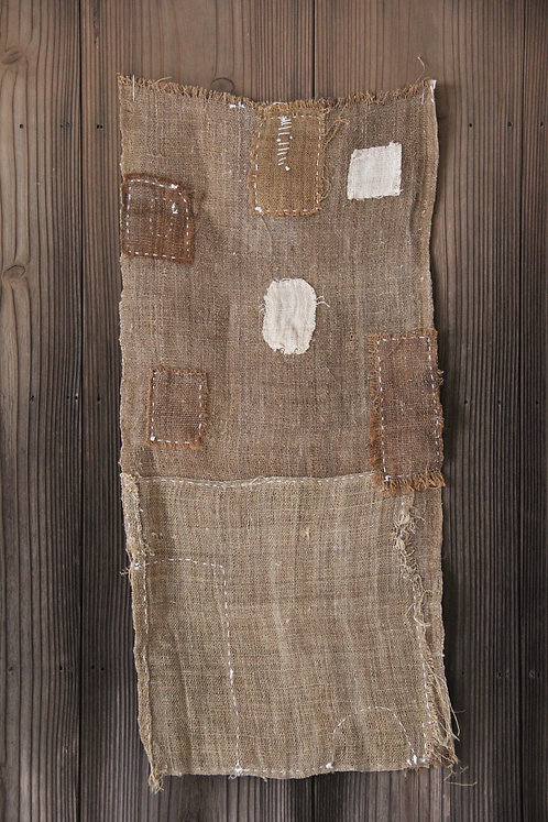Vintage sashiko stitched Ramie hemp fragment rug
