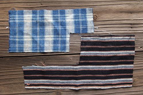 Vintage Japanese indigo dyed stripe & plaid fragment
