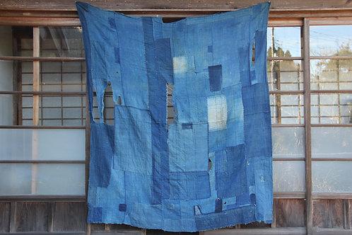 Vintage Japanese sashiko stitched indigo bed cover futonji rug