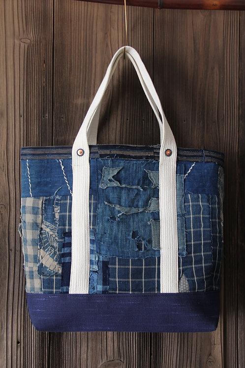 Japanese sashiko stitched indigo furoshiki boro tote bag