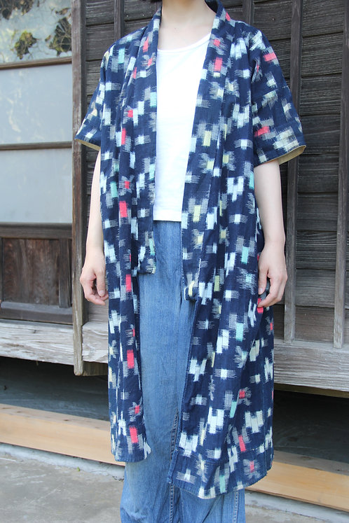 Vintage Japanese long indigo kasuri hanten jacket