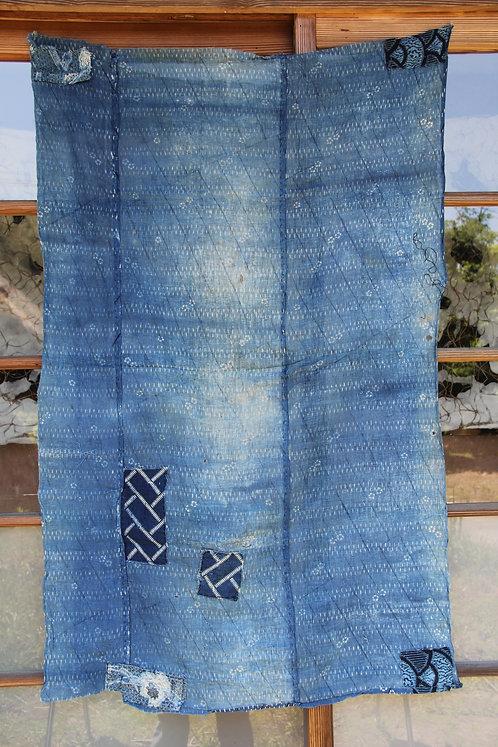 Vintage Japanese sashiko stitched katazome indigo rug