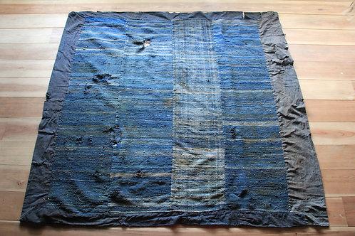 Vintage Japanese indigo sakiori bed cover futonji rug