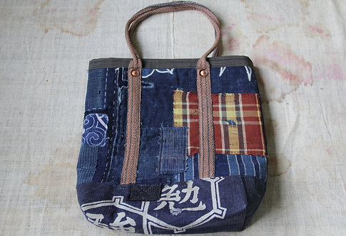 Japanese indigo BENKYO boro bag