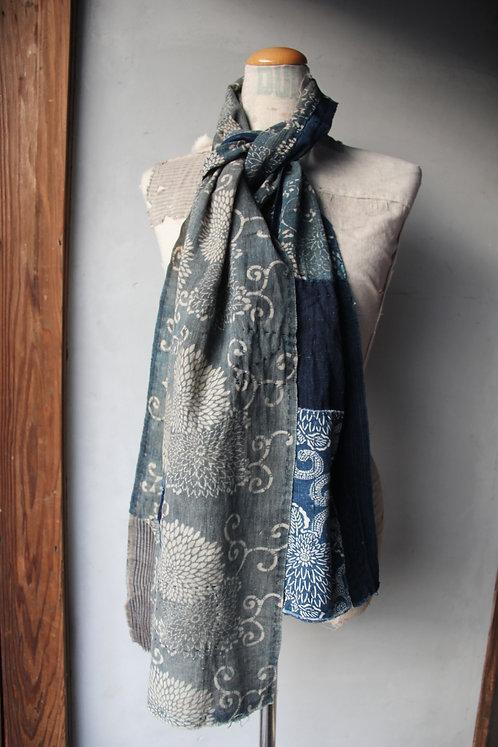 Vintage Japanese sashiko stitched indigo kat basome oro scarf