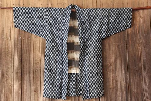 Vintage indigo dyed kasuri hanten jacket