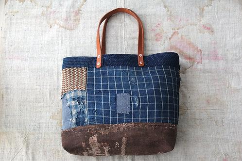 Japanese indigo and sakabukuro boro tote bag