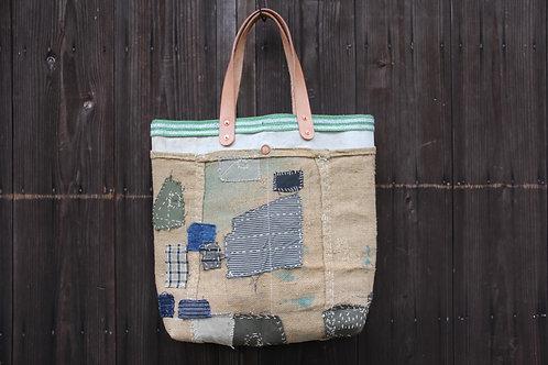 Japanese sashiko stitched hemp canvas boro tote bag