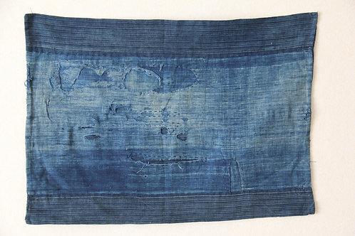 Japanese frayed indigo boro fragment textile