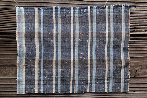 Vintage Japanese indigo dyed plaid fragment