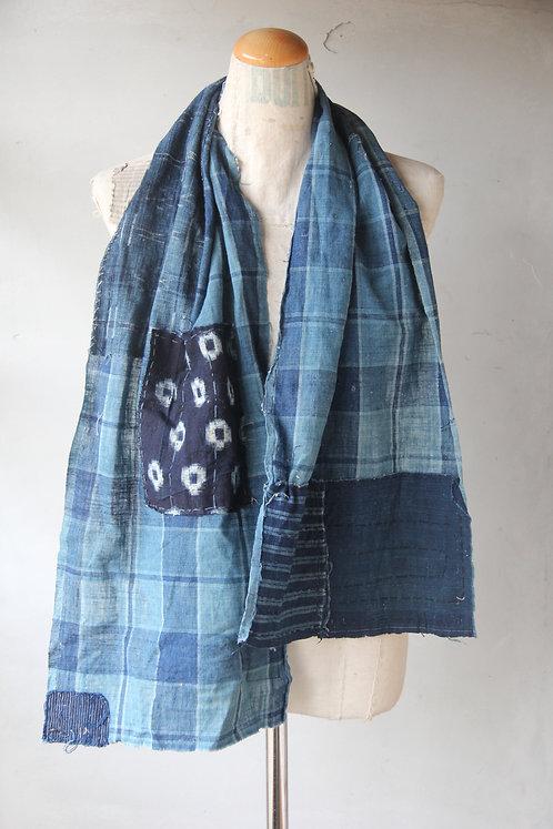 Vintage Japanese sashiko stitched indigo kasuri check boro scarf