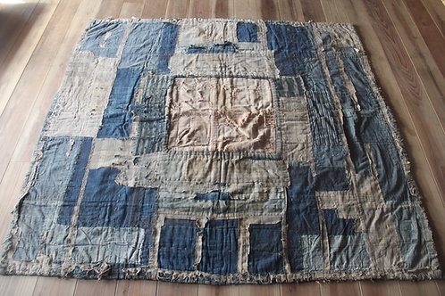 Vintage Japanese reversible indigo sakiori kotatsukake rug
