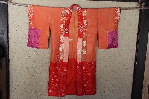 Vintage Benibana dyed patchwork juban kimono jacket