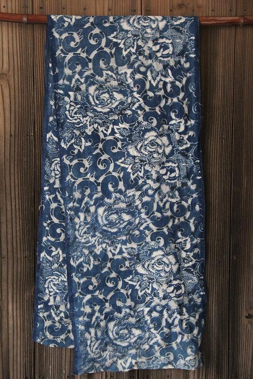 Japanese indigo dyed katazome fragment