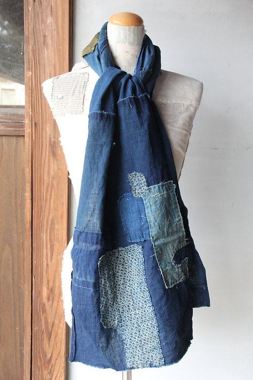Vintage Japanese sashiko stitched indigo shibori boro scarf