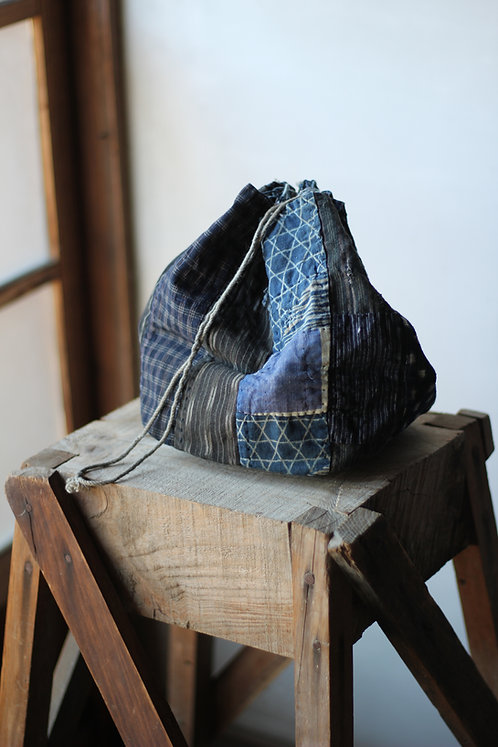 Vintage Japanese indigo dyed patched rice bag