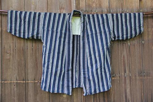 Vintage indigo stripe kasuri hanten jacket