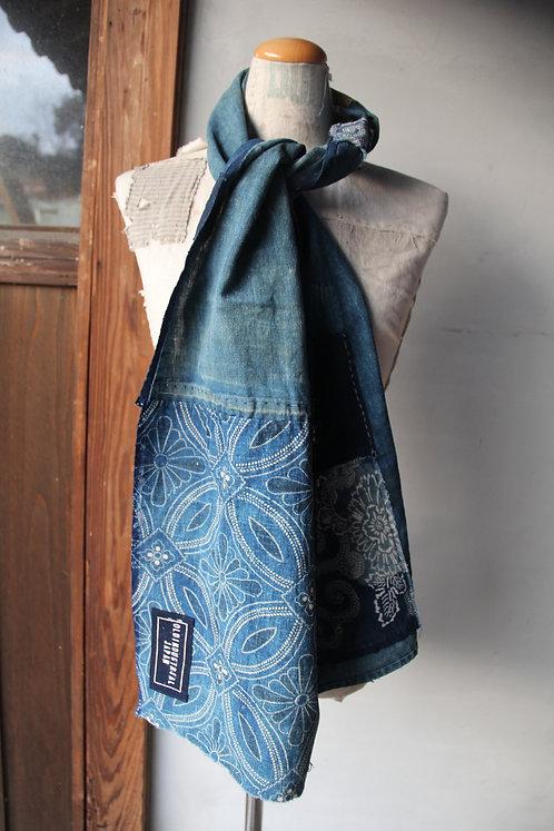 Vintage Japanese sashiko stitched indigo katazome boro scarf