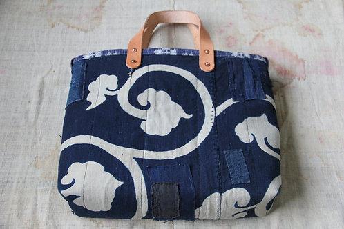Japanese indigo karakusa sashiko tote bag