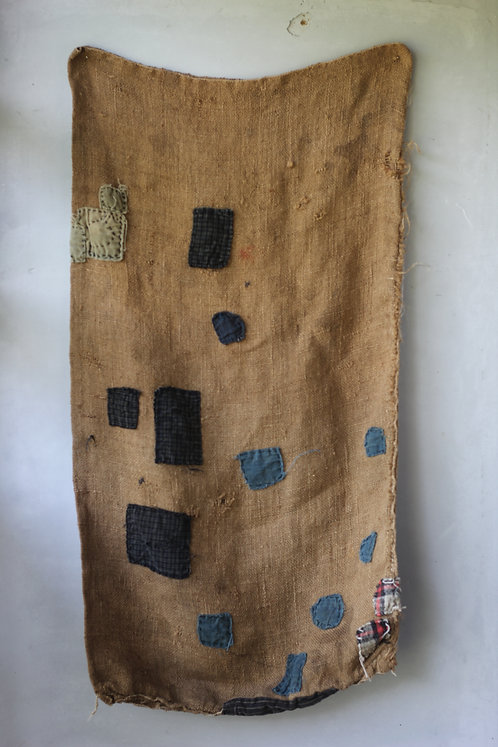 Vintage sashiko stitched jute hemp bag
