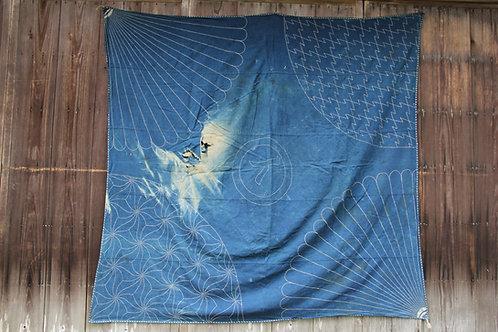 Japanese vintage sashiko stitched large furoshiki