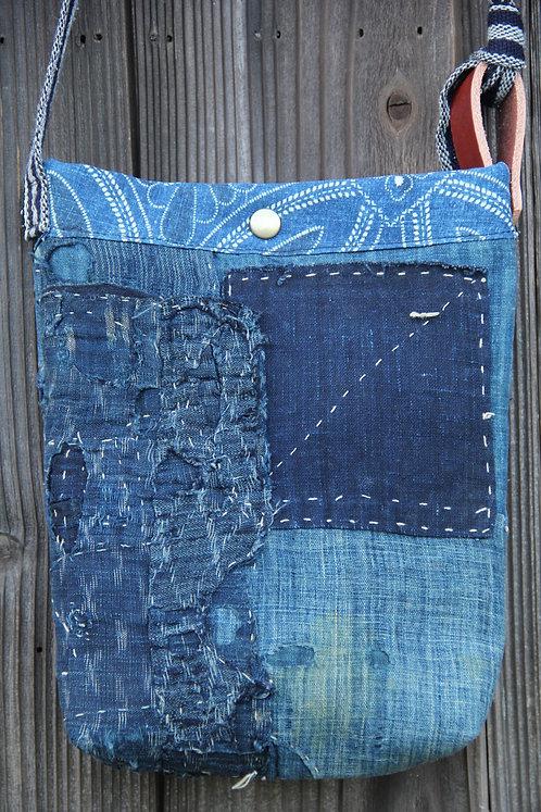 Japanese sashiko stitched indigo boro mini shoulder bag