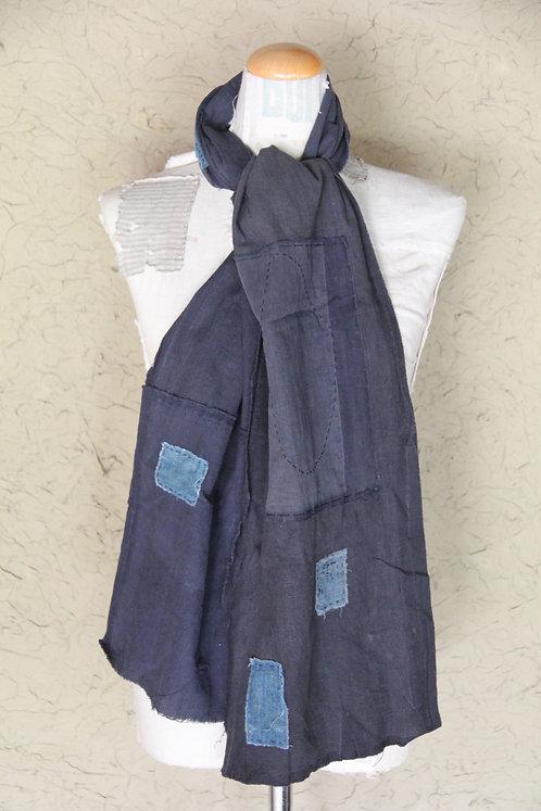 Vintage Japanese sashiko stitched indigo boro scarf