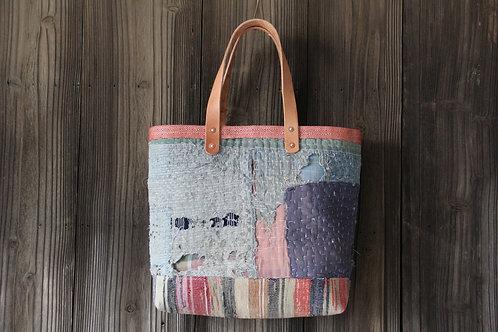 Japanese sashiko stitched indigo sakiori boro tote bag