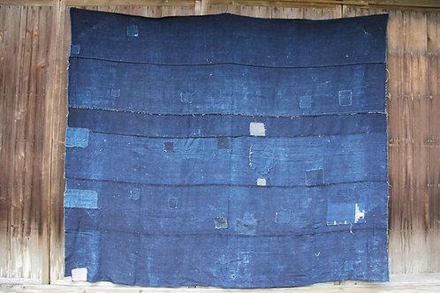 Japanese sashiko stitched indigo boro rug