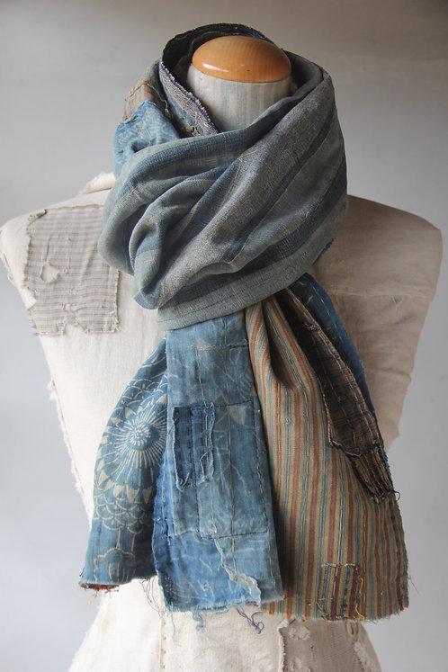 Vintage Japanese sashiko stitched indigo katazome plaid boro scarf