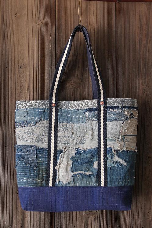 Japanese sashiko stitched indigo futonji boro tote bag