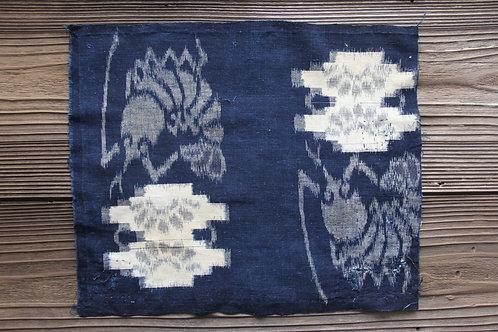 Vintage Japanese indigo dyed sashiko stitched shrimp fragment