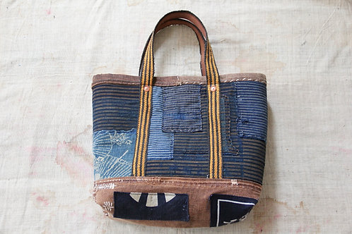 Japanese sashiko stitched stripe boro tote bag