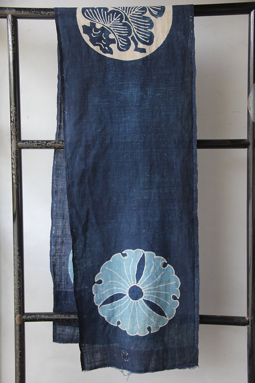 Vintage Japanese sashiko stitched indigo tsutsugaki fragment