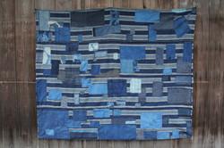 Japanese sashiko stitched boro rug