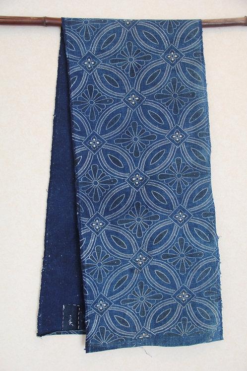 Japanese indigo katazome fragment scarf