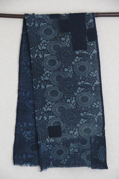 Japanese sashiko stitched katazome boro scarf