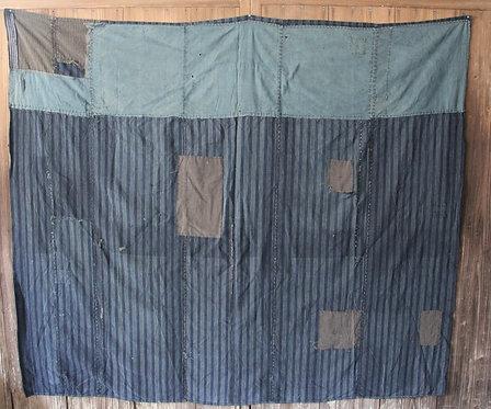 Japanese sashiko stitched stripe indigo boro rug