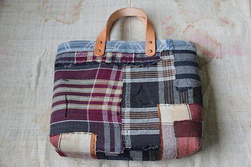 Japanese vintage plaid sashiko tote bag
