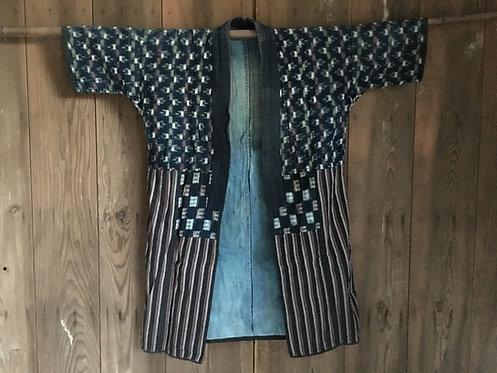 Vintage Japanese reversible patch work indigo kasuri jacket