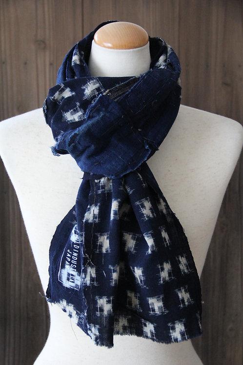 Vintage Japanese sashiko stitched kasuri indigo boro scarf