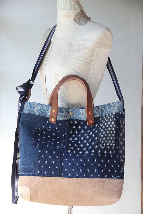 Vintage Japanese sashiko stitched indigo sakabukuro boro shoulder bag