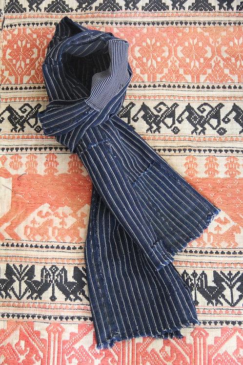 Japanese sashiko stitched boro scarf