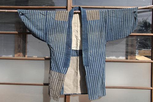 Vintage Japanese indigo stripe noragi boro jacket