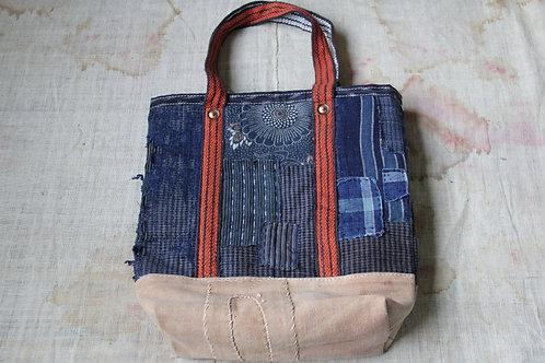Japanese indigo katazome boro bag