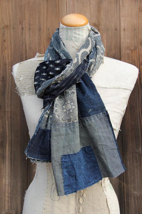 Vintage Japanese sashiko stitched chrysanthemum indigo boro scarf