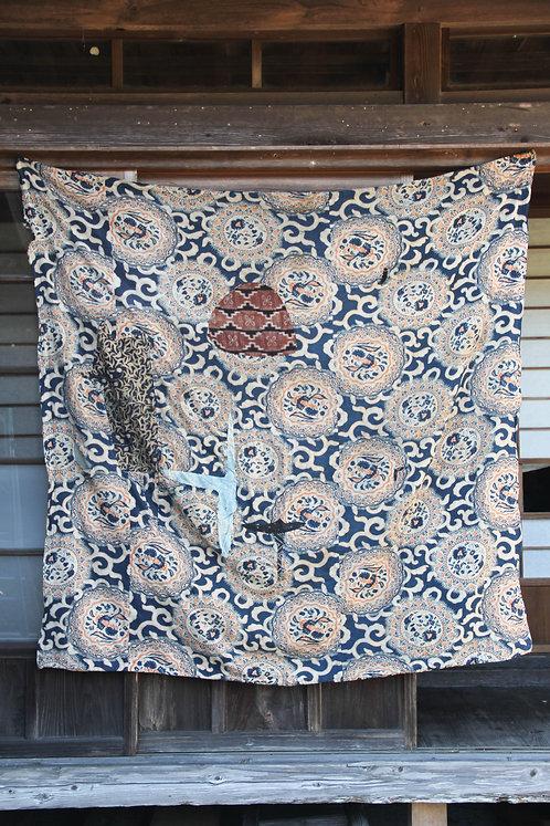Vintage Japanese sashiko stitched katazome indigo bed cover futonji rug