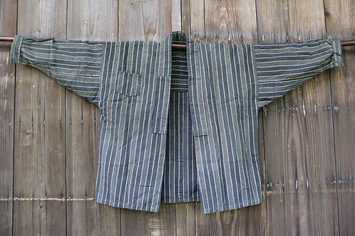 Vintage  stripe indigo kasuri hanten shirt