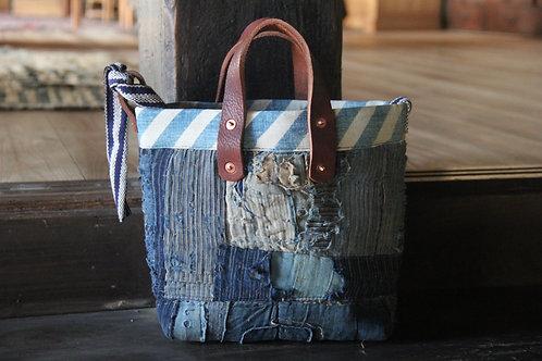 Vintage Japanese sashiko stitched indigo boro 2way tote bag