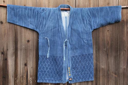 Vintage Japanese hard damaged indigo dyed ken-do jacket